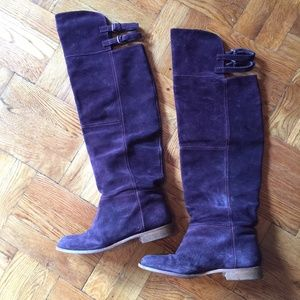 Zara genuine suede leather over the knee boots